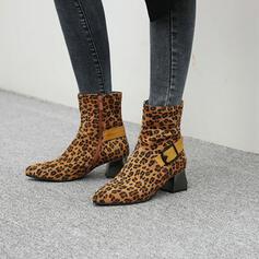 Femmes Suède Talon bottier Bottes mi-mollets Bout pointu avec Boucle Zip chaussures