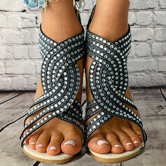 Women's PU Low Heel Sandals Flats Peep Toe High Top With Rhinestone Hollow-out shoes