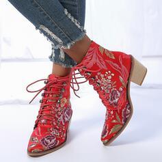 Femmes PU Talon bottier Bottines Bout pointu avec Dentelle Imprimé fleur chaussures