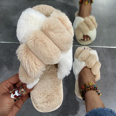 Women's Fake fur Flat Heel Flats Peep Toe Slingbacks Slippers With Faux-Fur Colorblock shoes
