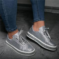 Women's PU Flat Heel Flats Low Top Round Toe With Sparkling Glitter Lace-up Solid Color shoes