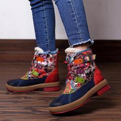 Femmes Similicuir Talon bottier Bottes mi-mollets bout rond avec Dentelle Couleur d'épissure chaussures