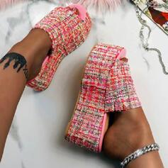 Women's PU Flat Heel Sandals Platform Peep Toe Slippers With Splice Color shoes