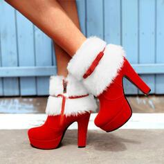 Femmes Suède Talon bottier Bottines Bottes neige Bout pointu Bottes d'hiver avec Bowknot Dentelle chaussures