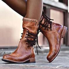 Femmes Similicuir Talon bas Bottes avec Rivet Dentelle chaussures