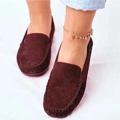 Femmes Suède Talon plat Chaussures plates avec Couleur unie chaussures