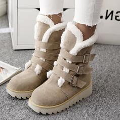 Femmes Suède Talon plat Bottes Bottes mi-mollets Bottes neige bout rond avec Boucle Couleur unie chaussures