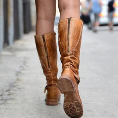 Femmes PU Talon plat Chaussures plates Bout fermé Bottes Bottes hautes avec Zip chaussures