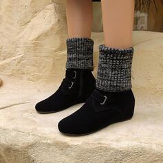 Femmes Suède Talon bottier Bottes mi-mollets bout rond avec Zip chaussures
