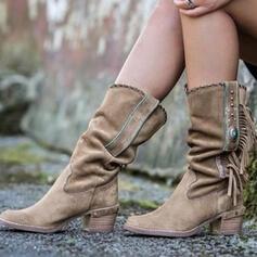 Femmes Suède Talon bottier Bottes mi-mollets Bottes cavalières bout rond avec Tassel À pois chaussures
