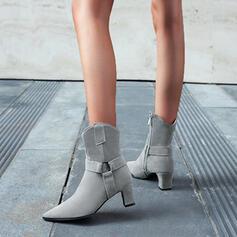 Femmes Similicuir Talon bottier Bottes mi-mollets Talons Bout pointu avec Zip Couleur unie chaussures