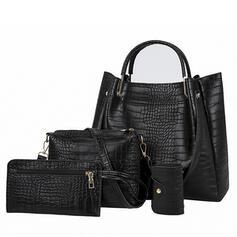 Elegant/Delicate/Commuting/Solid Color/Simple/Crocodile Embossed Satchel/Tote Bags/Crossbody Bags/Shoulder Bags/Bag Sets