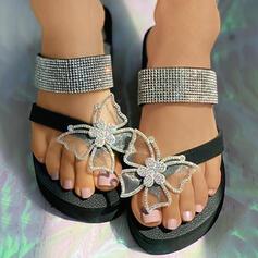 Women's Leatherette Silk Like Satin Flat Heel Sandals Flats Flip-Flops Slippers Toe Ring With Rhinestone Butterfly shoes