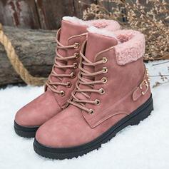 Femmes PU Talon bas Bottines Bottes neige bout rond Bottes d'hiver avec Boucle Dentelle chaussures