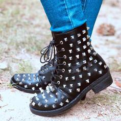 Femmes Microfibre Talon bas Bottes mi-mollets Martin bottes bout rond avec Rivet Dentelle chaussures