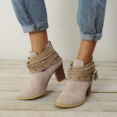 Femmes Suède Talon bottier Bottines avec Dentelle chaussures