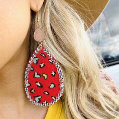 Brillant Coeur La Saint-Valentin Natural Stone Alliage Strass Cuir Femmes Boucles d'oreilles 2 PCS