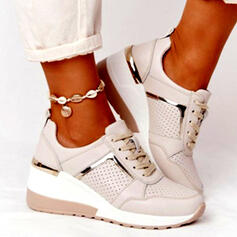 Women's PU Flat Heel Flats Round Toe Sneakers With Lace-up Splice Color shoes