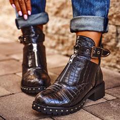 Femmes PU Talon bas Bottines bout rond avec Rivet Boucle La copie Animale chaussures