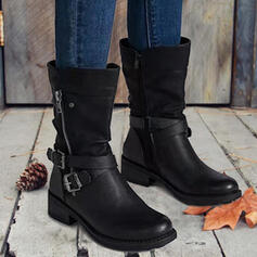 Women's PU Flat Heel Boots Ankle Boots With Solid Color shoes