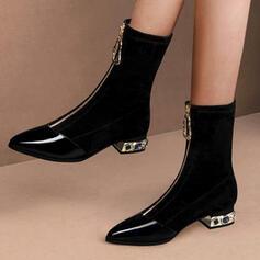 Femmes PU Talon bottier Bottes mi-mollets Bout pointu avec Zip Talon de bijoux Couleur unie chaussures