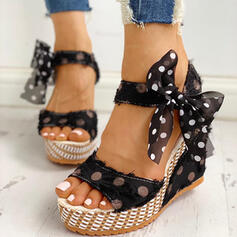 Femmes PU Talon compensé Sandales avec Bowknot chaussures