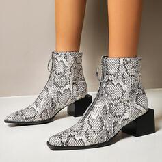 Femmes PU Talon bottier Bottines Bottes cavalières Bout carré avec La copie Animale Zip chaussures