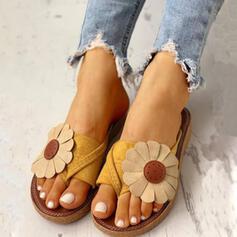 Femmes PU Talon plat Sandales Chaussons avec Une fleur chaussures