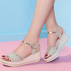 Women's Sparkling Glitter Wedge Heel Sandals Peep Toe Heels With Sparkling Glitter shoes