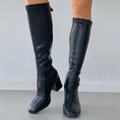 Femmes PU Talon bottier Bottes hautes Bout carré avec Zip Couleur unie chaussures