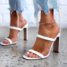 Women's PU Stiletto Heel Sandals Pumps Peep Toe Square Toe With Hollow-out Solid Color shoes