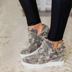 Femmes Toile Talon plat Chaussures plates Bottes Bottines avec Boucle chaussures
