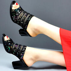 Women's Leatherette Mesh Chunky Heel Sandals Peep Toe Heels With Sparkling Glitter shoes