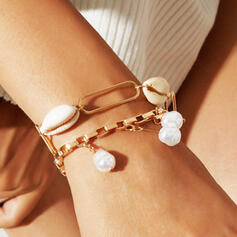 Refroidir En couches Alliage De faux pearl avec Coquille Femmes Bracelets 2 PCS