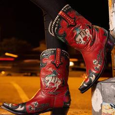 Femmes PU Talon bottier Bottes mi-mollets bout rond avec Rivet Couleur d'épissure Broderie chaussures