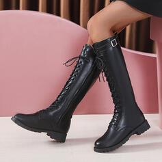 Femmes PU Talon bottier Bottes hautes Martin bottes bout rond avec Boucle Dentelle chaussures