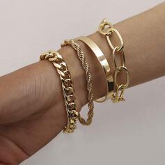 À la mode Ancien Simple En couches Alliage avec Plaqué or Femmes Dames Fille de Bracelets 4 PIÈCES