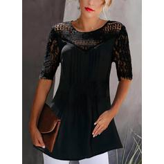 Solid Lace Round Neck 1/2 Sleeves Elegant Blouses