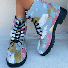 Women's Denim Flat Heel Boots Ankle Boots Round Toe With Lace-up Floral Print shoes