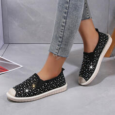 Women's Canvas Rhinestone Flat Heel Flats Low Top Slip On With Rhinestone Sequin Solid Color shoes
