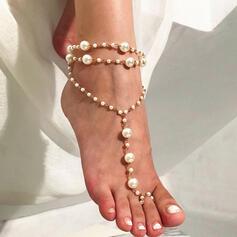 Charme Alliage avec Perle d'imitation Bijoux de plage Bracelets de cheville