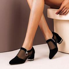 Women's Suede Chunky Heel Pumps Heels With Zipper shoes