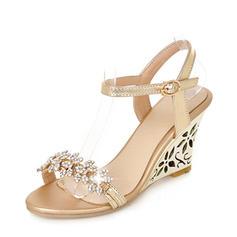 Femmes PU Talon compensé Sandales Escarpins Compensée À bout ouvert Escarpins avec Strass chaussures