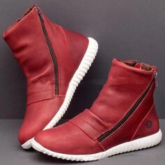 Femmes PU Talon plat Bottines bout rond avec Zip Couleur unie chaussures