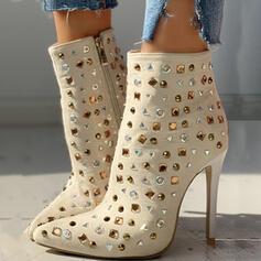 Femmes PU Talon stiletto Bottes mi-mollets Bout pointu avec Strass Zip chaussures