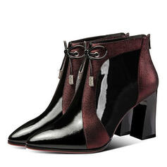 Femmes PU Talon stiletto Talon bottier Bottines avec Dentelle chaussures