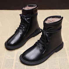 Femmes PU Talon plat Martin bottes bout rond avec Dentelle chaussures
