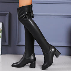 Women's PU Chunky Heel Boots With Zipper Tassel Solid Color shoes