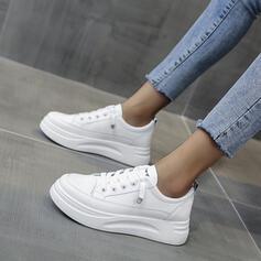 Femmes PU Talon plat Chaussures plates bout rond avec Dentelle Couleur unie chaussures