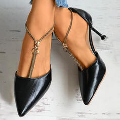 Femmes PU Talon stiletto Bout pointu avec Zip chaussures